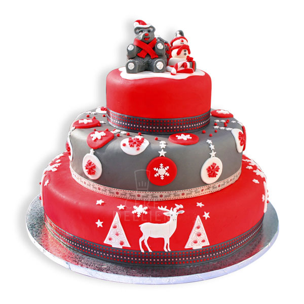 gâteau en pâte à sucre aux décorations de Noël. Ce