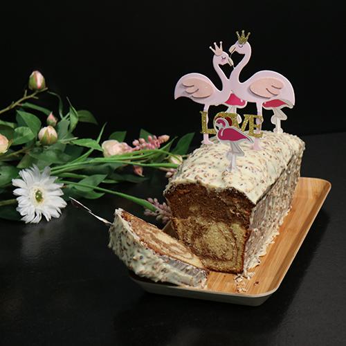 Cake marbré vanille, noisettes et chocolat blanc