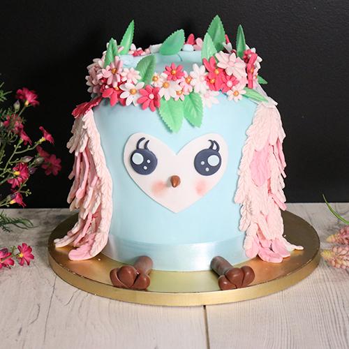 Gâteau chouette en pâte à sucre