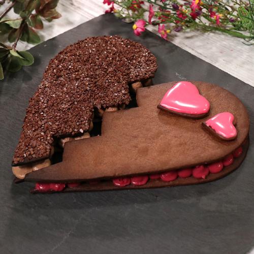 Tarte cœur chocolat framboise