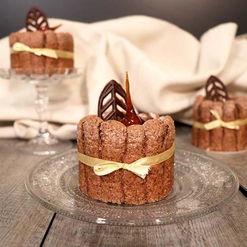 Charlottes individuelles chocolat et noisettes